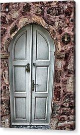 Door In Santorini Acrylic Print by Tom Prendergast
