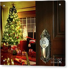 Door Opening Into A Christmas Living Room Acrylic Print