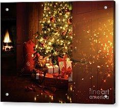 Door Opening Onto Nostalgic Christmas Scene   Acrylic Print by Sandra Cunningham