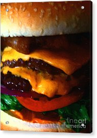 Double Cheeseburger With Bacon - Painterly Acrylic Print by Wingsdomain Art and Photography