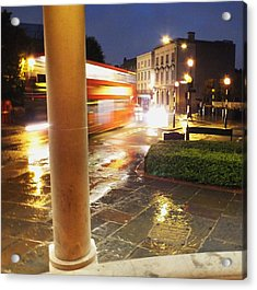 Double Decker Blur In The Rain Acrylic Print by Anna Villarreal Garbis