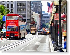 Double Decker Sightseeing Bus Along Powell Street In San Francisco California . 7d7269 Acrylic Print by Wingsdomain Art and Photography