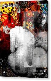 Double Fantasy John Lennon Yoko Ono Nude Acrylic Print by Karine Percheron-Daniels