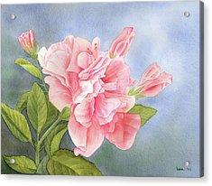 Double Hibiscus Acrylic Print by Leona Jones