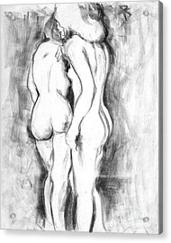 Double Nudes Acrylic Print by Elena Irving