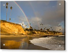 Double Raibow Over Laguna Beach Acrylic Print by Cliff Wassmann