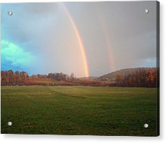 Double Rainbow In The Valley Acrylic Print by Mark Haley