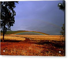 Double Rainbow Ridge Acrylic Print by Cindy Wright