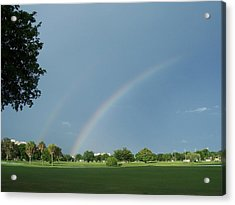 Acrylic Print featuring the photograph Double Rainbow by Sheila Silverstein