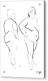 Double Standing Female Nude Acrylic Print by Joanne Claxton