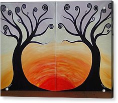 Double Trees Acrylic Print by Monica Moser