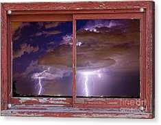 Double Trouble Lightning Picture Red Rustic Window Frame Photo A Acrylic Print by James BO  Insogna