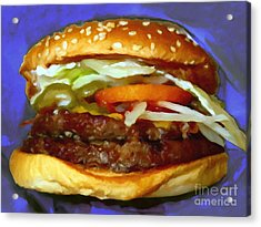 Double Whopper With Cheese And The Works - V2 - Painterly - Purple Acrylic Print by Wingsdomain Art and Photography