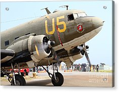 Douglas C47 Skytrain Military Aircraft . Spinning Propellers 7d157838 Acrylic Print by Wingsdomain Art and Photography