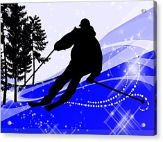 Downhill On The Ski Slope  Acrylic Print by Elaine Plesser