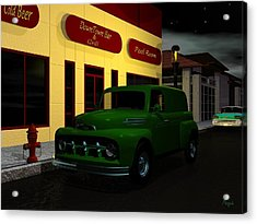 Acrylic Print featuring the digital art Downtown Bar And Grill by John Pangia