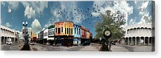 Downtown Bryan Texas 360 Panorama Acrylic Print by Nikki Marie Smith
