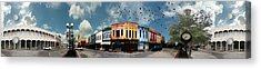 Downtown Bryan Texas Panorama 5 To 1 Acrylic Print by Nikki Marie Smith