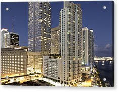 Downtown Miami At Dusk Acrylic Print by Marcaux