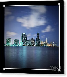 Downtown Miami At Night Acrylic Print by Carsten Reisinger
