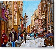 Downtown Montreal Paintings Acrylic Print by Carole Spandau