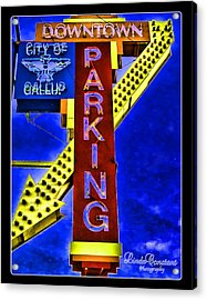 Downtown Parking Acrylic Print by Linda Constant