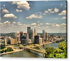 Downtown Pittsburgh Hdr Acrylic Print by Arthur Herold Jr