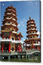 Dragon And Tiger Pagodas In Taiwan Acrylic Print by Yali Shi
