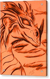 Acrylic Print featuring the drawing Dragon In Color by Maria Urso