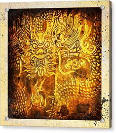 Dragon Painting On Old Paper Acrylic Print by Setsiri Silapasuwanchai