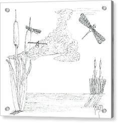 Dragonflies And Cattails - Sketch Acrylic Print by Robert Meszaros