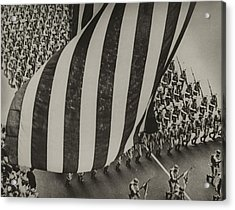 Dramatic Photo Of Us Flag And Uniformed Acrylic Print by Everett