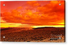 Dramatic Red Sunset At Desert Acrylic Print by Anna Om