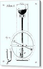 Drawing Of Robert Hooke's Wheel Barometer Of 1665. Acrylic Print by