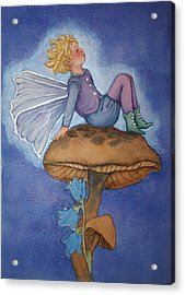Dreaming Fairy Acrylic Print by Leslie Redhead