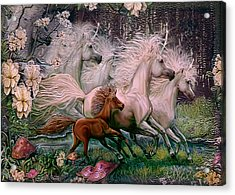 Acrylic Print featuring the painting Dreams Of Unicorns by Steve Roberts