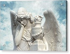 Dreamy Surreal Beautiful Angel Art Blue Sky Acrylic Print by Kathy Fornal