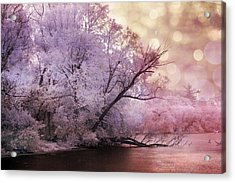 Dreamy Surreal Fantasy Pink Nature Lake Scene Acrylic Print by Kathy Fornal
