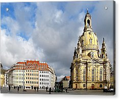 Dresden Church Of Our Lady And New Market Acrylic Print by Christine Till