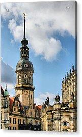 Dresden Hausmannsturm - Housemann Tower Acrylic Print by Christine Till