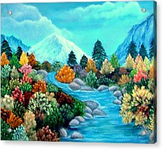Acrylic Print featuring the painting Dressed For Fall by Fram Cama