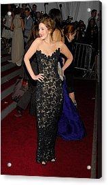 Drew Barrymore Wearing Oscar De La Acrylic Print by Everett
