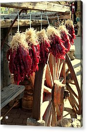 Dried Red Hot Peppers Acrylic Print by Cindy Wright