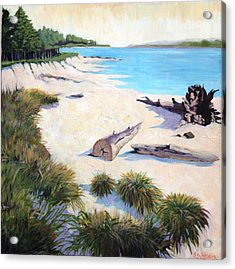 Driftwood Beach Oregon Acrylic Print by Bella  Wilson