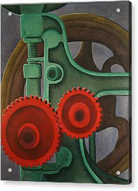 Acrylic Print featuring the painting Drill Gears by Paul Amaranto