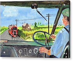 Acrylic Print featuring the painting Driving   Yesteryear by Audrey Pollitt