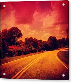 #driving #sky #clouds #road #summer Acrylic Print
