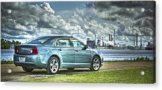 Acrylic Print featuring the pyrography Drove My Chevy To The Levee by Ray Devlin