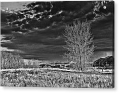 Drumheller Valley In Black And White Acrylic Print by Jim Justinick