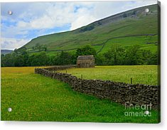 Dry Stone Walls And Stone Barn Acrylic Print by Louise Heusinkveld